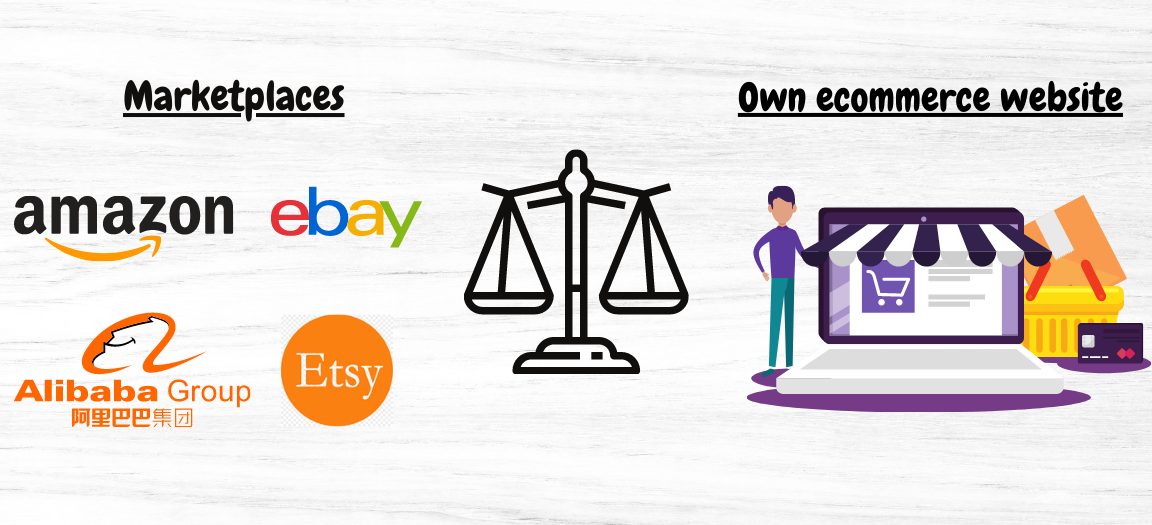 sell on marketplaces vs. your own ecommerce website
