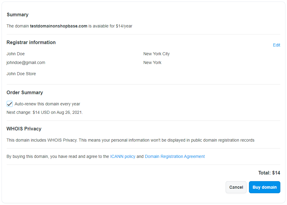 """Click """"Buy domain"""" in the Confirmation Page to complete the domain purchase with ShopBase"""