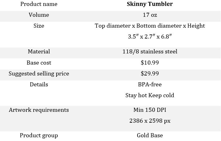 PrintBase skinny tumbler details