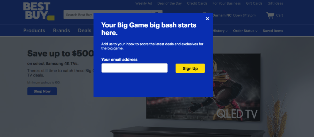 A popup sample that BestBuy runs on its page on Super Bowl Sunday to collect emails receiving discounts