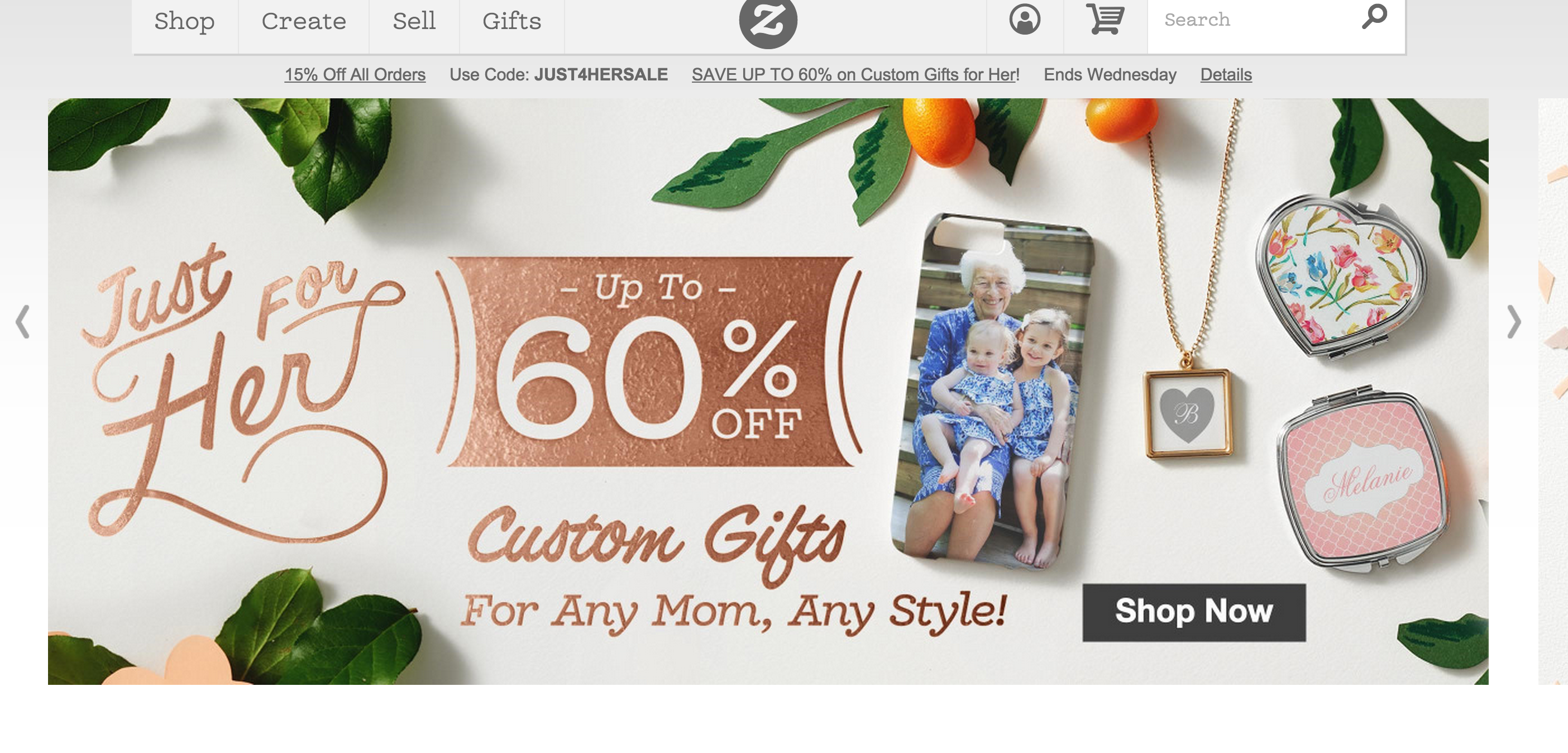 A brand has offered up to 60% discount on products bought as gifts for moms together with the designed image displayed on the slideshow on the homepage