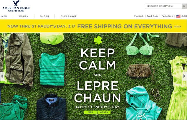 The American Eagle Outfitters brand runs a Free Shipping promotion on its homepage with a slideshow of the homepage in blue tones - the main color of St. Day. Patrick's Day