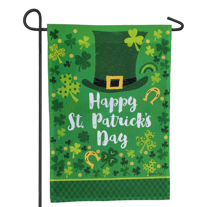 A Portrait House Flag design celebrates St. Day. Patrick's Day used for exterior decoration of the house