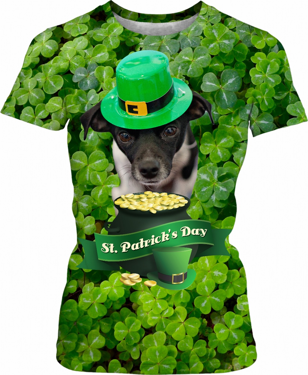 A design that combines a dog lover's niche and a St. holiday style for Patrick's Day