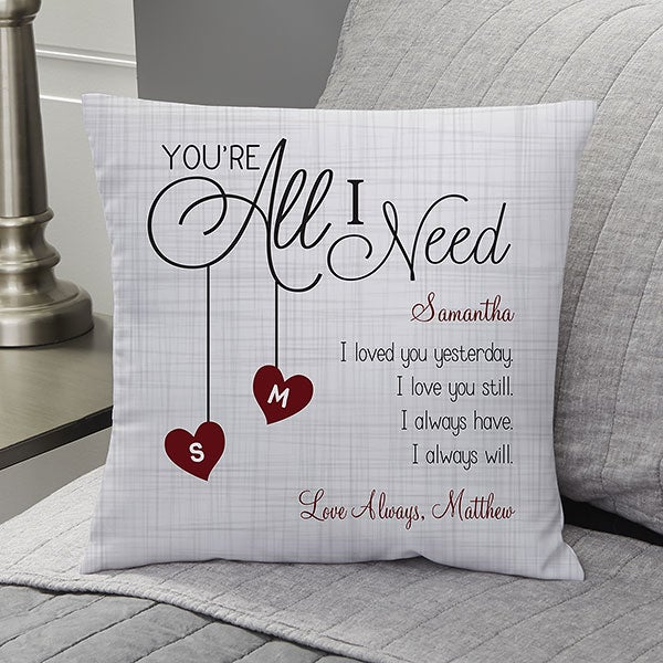 A personalized pillow cover design for Valentine's Day that allows buyers to have the recipient's name on it