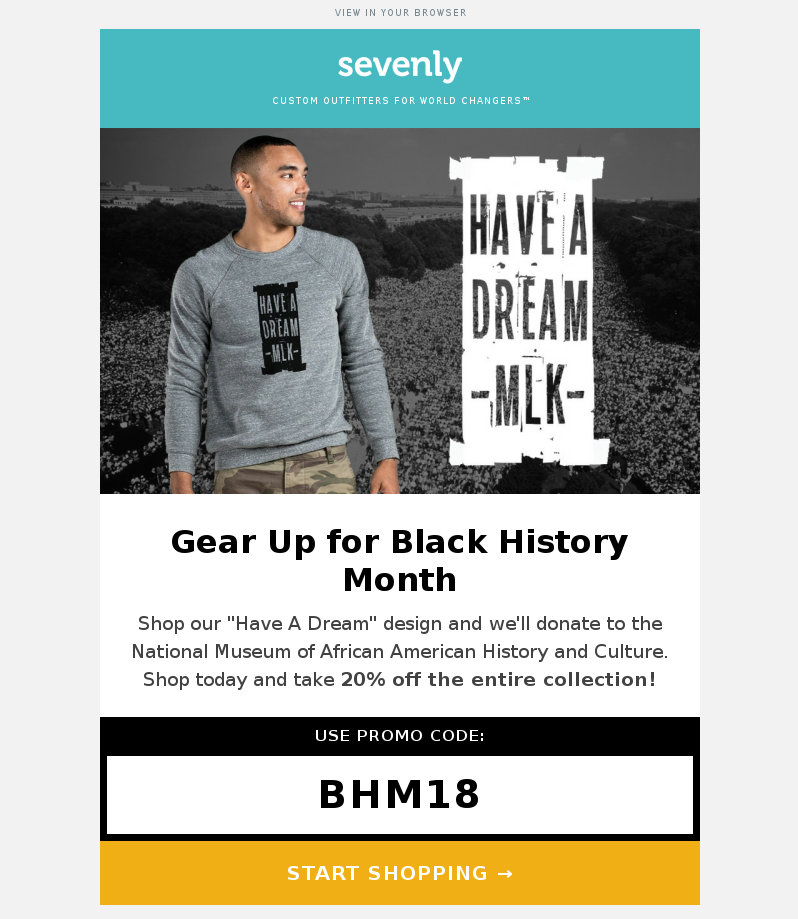 An email marketing sample on MLK Day by Sevenly