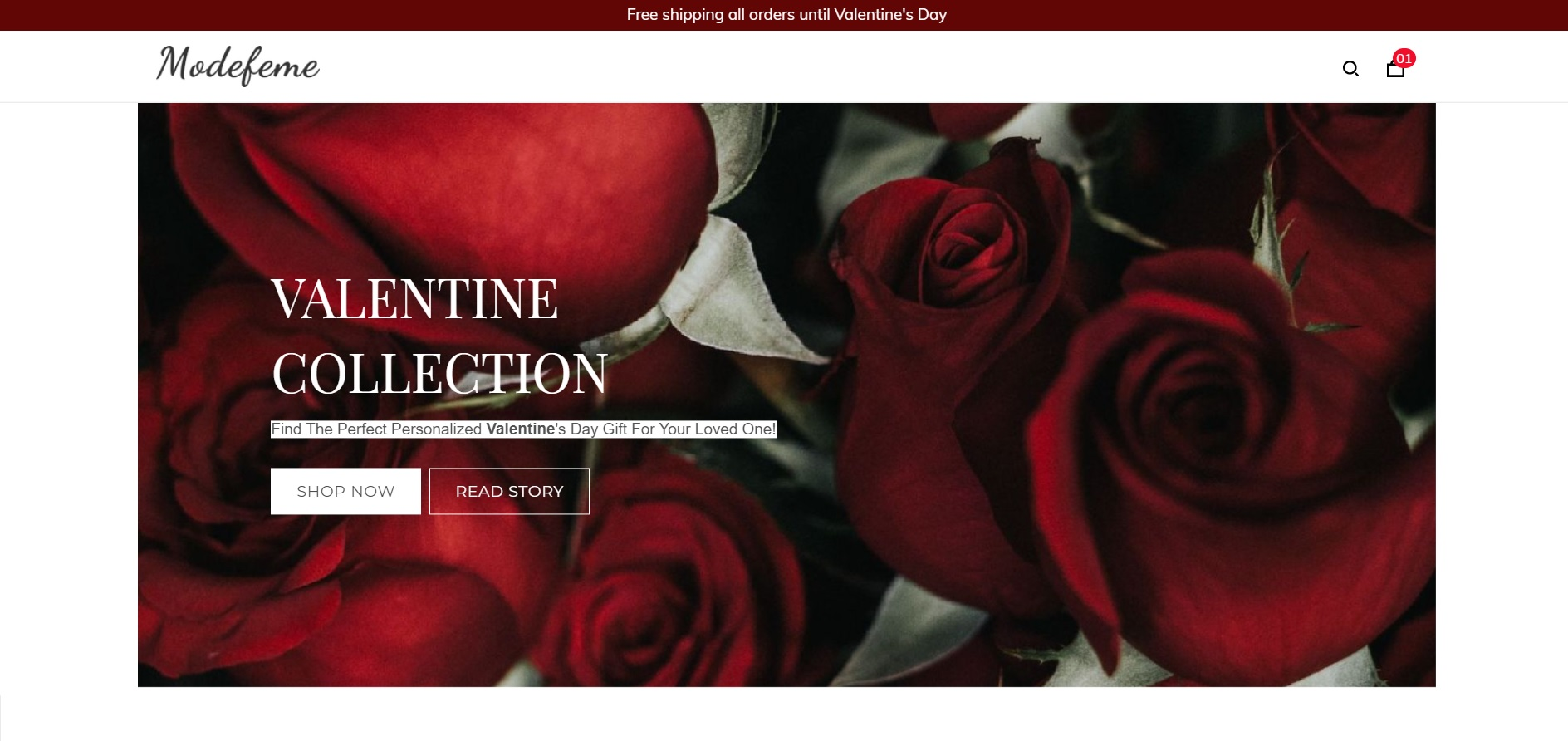 An online store with a Valentine-themed homepage