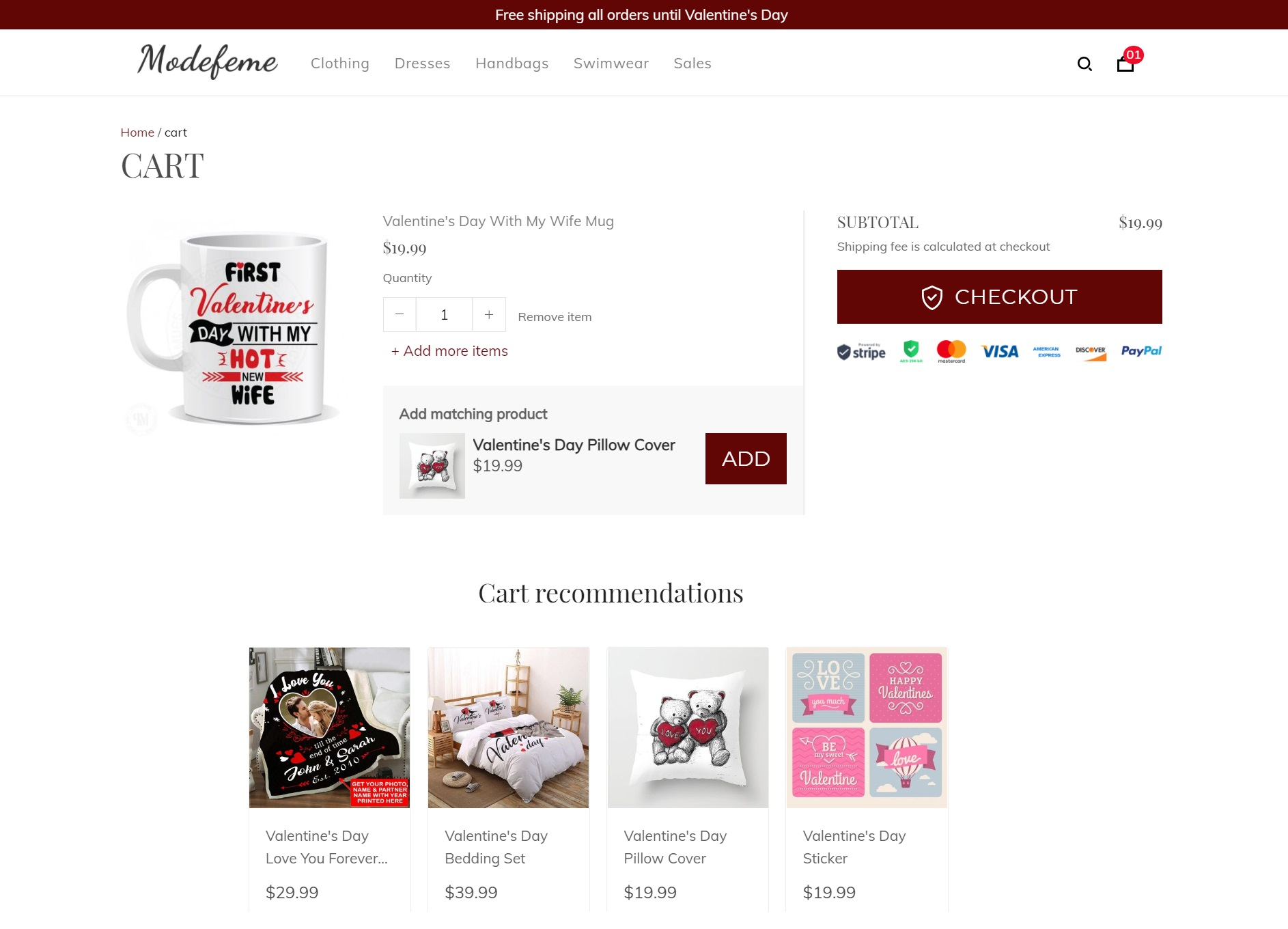Suggested items in their cart page