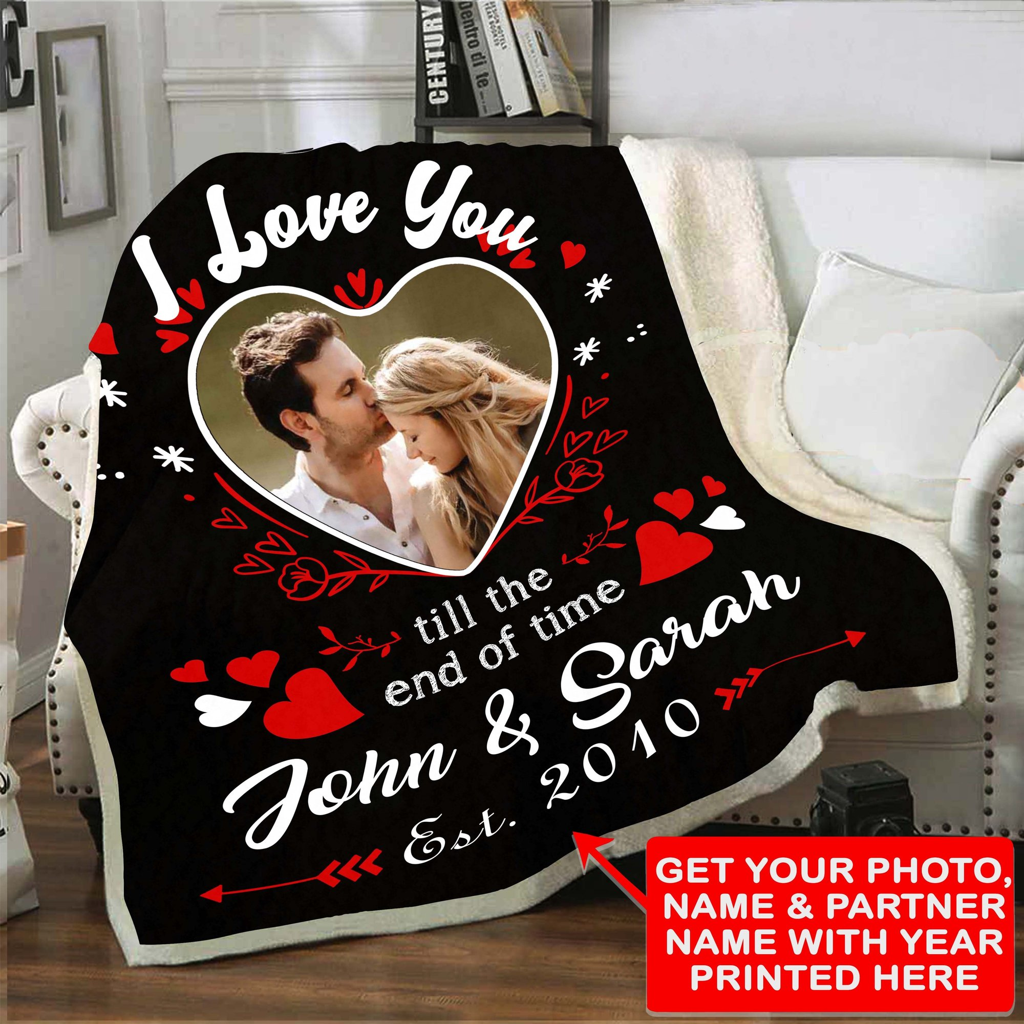 Sherpa blanket Valentine's Day design for couples