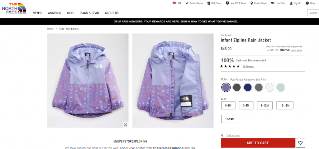 North Face product page optimization