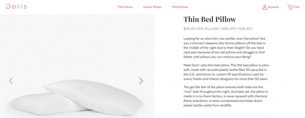 Doris Sleep pillow description
