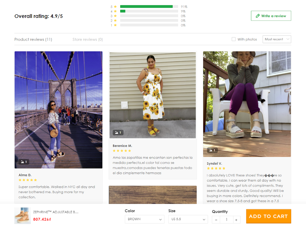 Reviews section on a ShopBase store