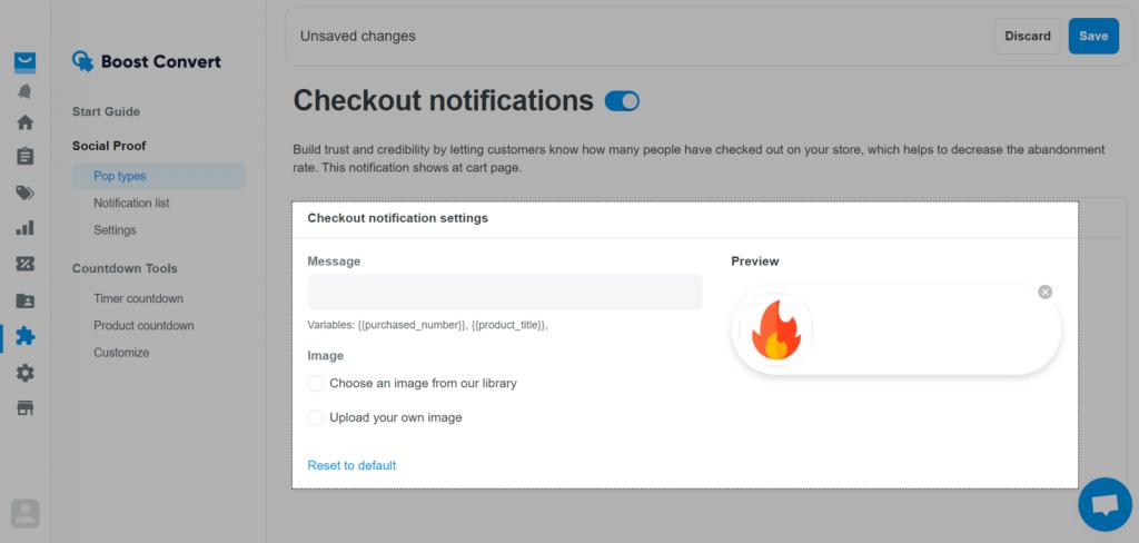 Checkout notification on ShopBase's Boost Convert app