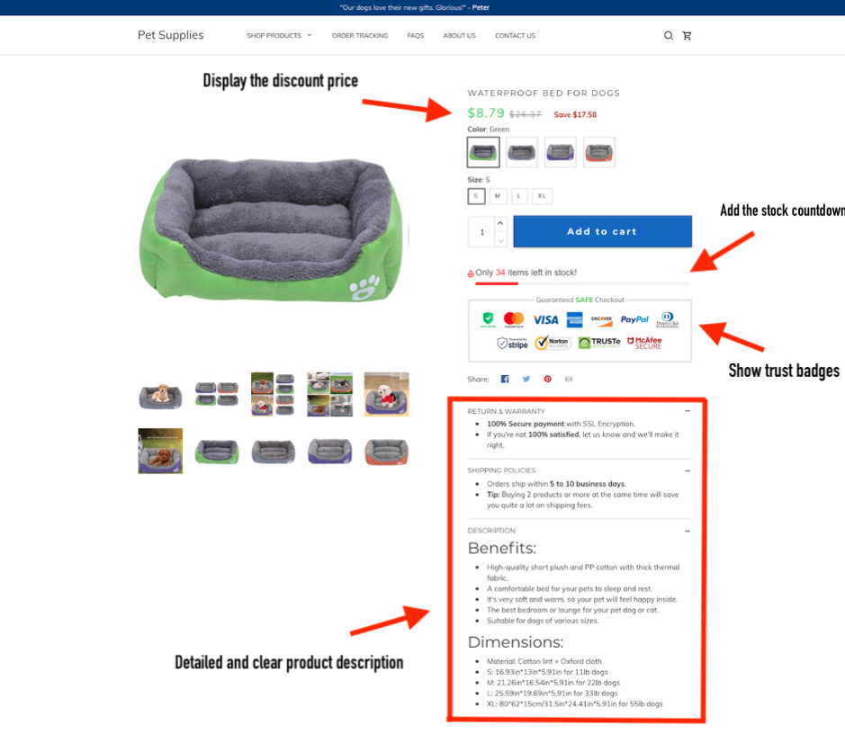 Fully optimized store created by ShopBase