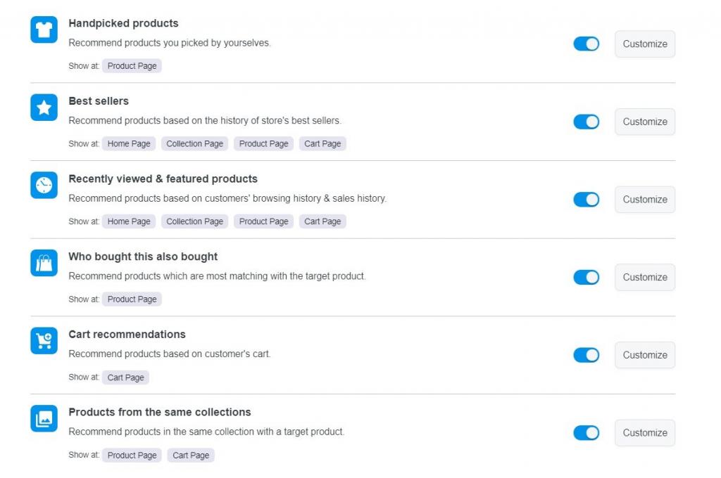Product Widget features