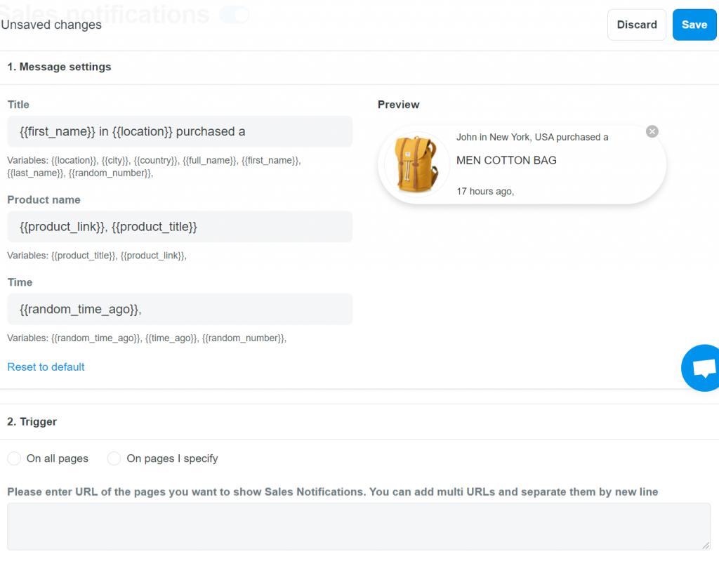 Sale notification on ShopBase's Boost Convert app